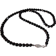 SALE Elegant Black Faceted Glass French Jet Beaded Necklace