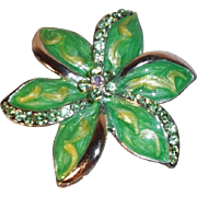 SALE Vintage Green and Yellow Enameled Flower Brooch with Rhinestones