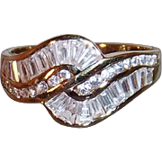 SALE Vintage Cocktail Ring with Clear CZs in Wave Pattern, Vermeil, Size 9.5