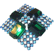 SALE Hobe Brilliant Diamond Shaped Emerald Green, Blue, & Clear Rhinestones Brooch