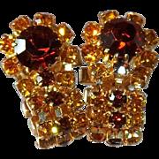 SALE Vintage Amber Colored and Root Beer Brown  Rhinestone Cufflinks