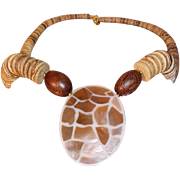SALE Vintage Pendant Necklace with Wooden Beads and Shell Inlaid Focal