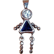SALE Vintage Sterling Silver September Birthstone Charm or Pendant with  Blue and Crystal Clea