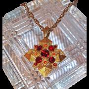 SALE Vintage Goldtone 3-D Maltese Cross Pendant Necklace with Red Rhinestones