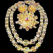 Vintage Beaded Set with Yellow Aurora Borealis Crystal Beads