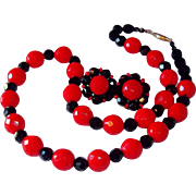 Vintage Black and Red Faceted Glass Bead Necklace and Matching Clip Earrings