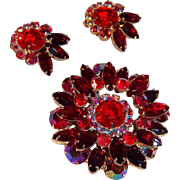 Dazzling Red Glass & Aurora Borealis Crystals Brooch &  Clip On Earrings Set