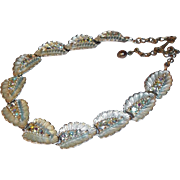 SALE Aurora Borealis Crystal Rhinestones 3-D Leaf Shaped Choker Necklace circa 1950s