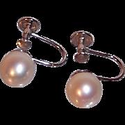 Classic Elegant 14K White Gold & Genuine Cultured Pearls Screw On Earrings Circa 1970's