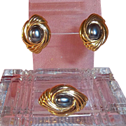 """Avon """"Caviar Collection"""" Brooch or Pendant Enhancer with Matching Pierced Earrings,"""