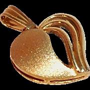 SALE Dainty Vintage 14 Karat Gold Heart Pendant