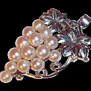 SALE Elegant Cultured Pearls 3-D Grape Cluster Brooch- Pendant, 900 Silver, Japan circa 1970's