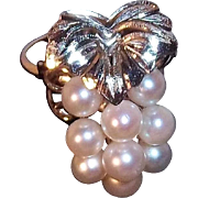SALE Genuine Cultured Pearls 3-D Grape Cluster Ring 900 Silver, Circa 1970's Japan ...