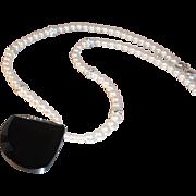 SALE Simple Elegance  Carolee Imitation Pearl Choker w Rhinestone Spacers & Geometric Black ..