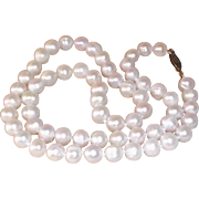 """SALE Classic Cultured Pearl Single Strand Necklace Gold-Filled Clasp 18"""" long , 7mm"""