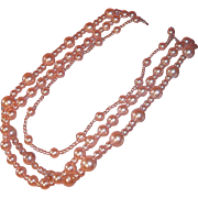 SALE Classic Pastel Pink Imitation Pearl Triple Strand Necklace by Carolee