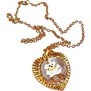 SALE Adorable Domed Lucite & Enameled Teddy Bear Heart Pendant Necklace  Gold Crown Inc.