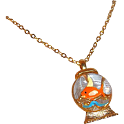 SALE Cute 3-D Domed Lucite Goldfish Pendant Necklace  Gold Crown Inc  Circa 1960's -1970's