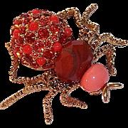 Retired Joan Rivers Dazzling Orange -Red Rhinestone Spider Brooch  1990s