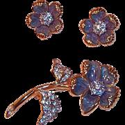 Lovely Rhinestone & Enamel Flower Brooch & Clip on Earrings signed Nolan Miller
