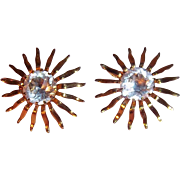 Sarah Coventry Fascination Clear Rhinestone Goldtone Metal Clip on Earrings 1959