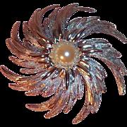 Sarah Coventry Pinwheel Brooch 1962  Large Silvertone Metal Flower w Imitation Pearl