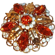 SALE Opalescent & Orange Rhinestone 3-Dimensional Goldtone Metal Flower Brooch