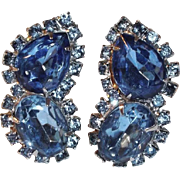 SALE Large Sparkling Deep Blue Rhinestone and Silvertone Clip Earrings