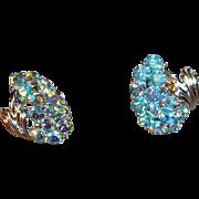 SALE Vintage Coro Blue Aurora Borealis Rhinestone Clip On Earrings