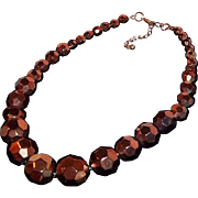SALE Large Chunky Coppertone Metallic Bronzetone Faceted Glass Beaded Necklace