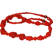 SALE Unusual Cherry Red Dimpled Art Glass Beaded Necklace Circa 1940's