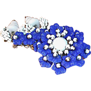 SALE Miriam Haskell Navy Blue & White Glass Beaded Flower Brooch  Circa 1950's