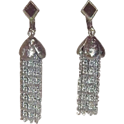 SALE Sarah Coventrty 1960 Cascade  Dangle Silvertone Metal Pierced Earrings