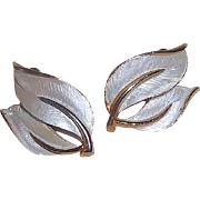 SALE Sarah Coventry 1965 Pearlized Perfection Leaf Shaped Clip On Earrings