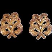 SALE Sarah Coventry Golden Braid 1966  Goldtone Metal Clip On Earrings