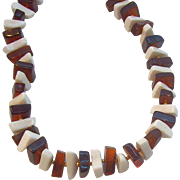 SALE Trifari Translucent Rootbeer Brown & White Lucite Beaded Necklace