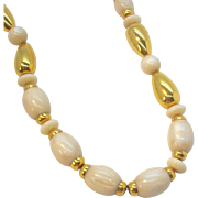 SALE Napier Marbelized Oval Shaped Creme Colored Lucite Beads With Goldtone Metal Spacer Beads