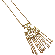 SALE Trifari Goldtone Metal Fringed Dangle Pendant Necklace with Abstract Floral Designs