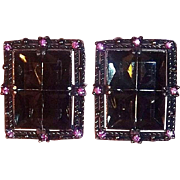 Sarah Coventry Black Magic Clip On Earrings 1957 Charcoal Rhinestones w Pink Accents