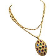SALE Swarovski  Multi Colored  Rhinestone Pendant & Chain necklace  1980's