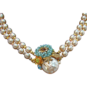 Miriam Haskell Imitation Pearl Double Strand Necklace w Ornate Beaded & Rhinestone Clasp