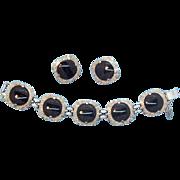 Geometric  Judy Lee Black Glass & Silvertone Metal Bracelet & Earring Set  Circa 1960's