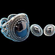 Huge Whiting & Davis Metallic Silvertone Metal Cuff Bangle & Earring Set