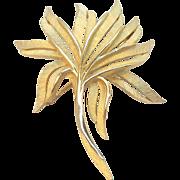SALE Trifari Crown Symbol Brushed Goldtone Metal Stylized Leaf Brooch