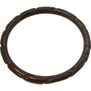 Carved Thin Olive Green Bakelite Bangle Bracelet