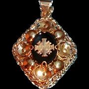 Unusual Vintage 14 Karat Gold and Black Glass Jerusalem Cross Pendant
