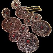 Joan Rivers Filigree and Rhinestone Pierced Earrings, New Old Store Stock