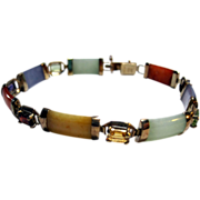 vintage estate Multi-color Jade and Gems Link Bracelet jadeite