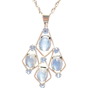 SOLD sweet VAN DELL gold filled Moonstone cabochon Pendant Necklace