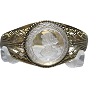 SOLD WHITING & DAVIS  WD Cameo Intaglio hinged cuff Bracelet gold tone